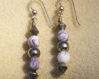 Mottled Purple Dangles - Handmade, Purple & Silver Earrings on Sterling Silver French Hooks from JewelryArtistry - E643