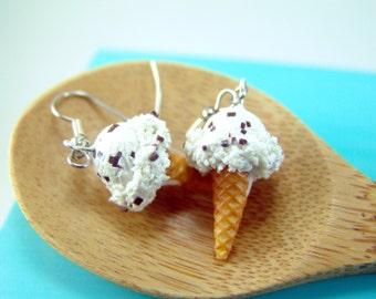 Ice Cream Earrings // Chocolate Chip Ice Cream // MADE TO ORDER Miniature Food Earrings
