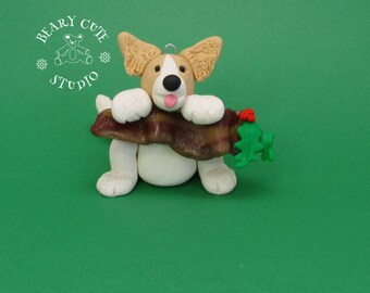 Puppy begging for bacon, Puppy ornament, Christmas Puppy and bacon, Bacon ornaments
