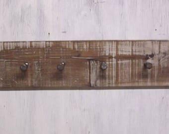 rustic Coat Rack, farmhouse decor, Rustic Coat Rack, entryway organizer, 4 hook wall rack, Christmas gift, industrial bolts, walnut coat rk