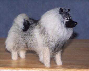 Keeshond needle felted dog example custom made to order