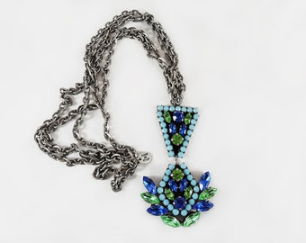 Jewel in antique silver and Swarovski crystals Turquoise Peridot Sapphire