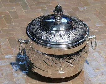 Oriental tin box lid sugar Bowl storage container Peppermint Morocco Ø 15 cm