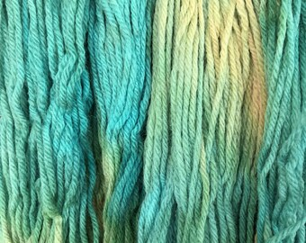 """Green Wool Yarn - Worsted Weight 4 ply - Hand dyed Variegated - """"Sunny Day Mystery Sheep"""""""
