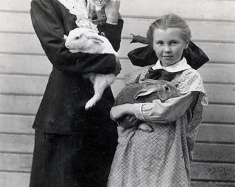Mother Holds Cat Bunny Rabbit Little Girl w Bunny Vintage Photo Print