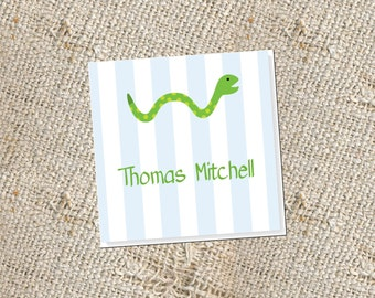 Children's Personalized Gift Cards -  25 cards; Gift Enclosures for Kids; Snake Gift Tags; Gift Cards for Boys