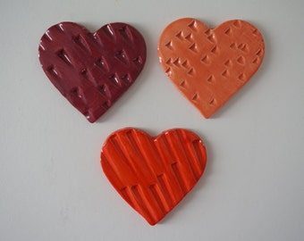 Handmade Ceramic Heart Magnets - set of 3
