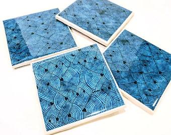 Blue Patterend Tile Coasters (set of 4)