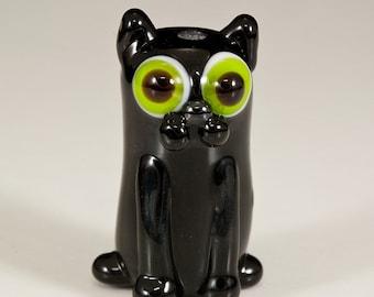 Black Cat Lampwork Glass Bead