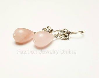 Rose quartz teardrop earrings, Gemstone earrings, Sterling silver earrings, Gifts for girlfriend, Gifts for her under 30