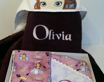 Sophia Custom Embroidered Hooded Towel, Bib, Burp Cloth Set personalized, Girl waterproof bib