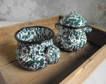 Enamelware Cream & Sugar Set , Marbled Green and White Enamel Cream Pitcher and Cover Sugar Bowl , Farmhouse Kitchen , Rustic Cabin Decor