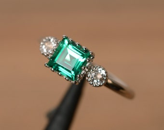 lab grown emerald ring silver multistone ring May birthstone ring engagement ring with white topaz