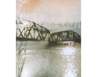 hazy: pittsburgh art. fine art photography. surreal photography. multiple exposure photo. industrial decor. railroad bridge fine art print