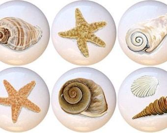 Set of 10 Artistic Seashells Ceramic Drawer Pull Cabinet Knobs