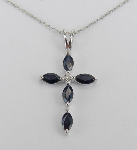 "Diamond and Sapphire Cross Pendant Necklace 18"" Chain 14K White Gold Religious Charm"