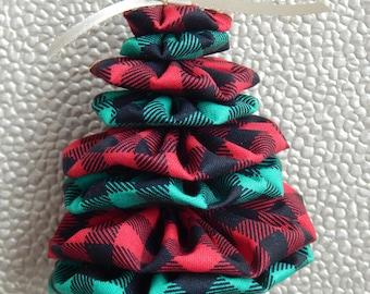 Red and Green Lumberjack Check Yo Yo Tree Ornament