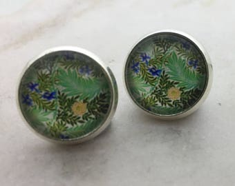 Greenery glass dome stud earrings. 14mm with surgical steel and nickel free posts