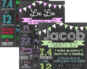 Month By Month Chalkboard DIY Sign & print from home mark new babies monthly milestones with modern unique monthly milestones ID# MLEFLG01