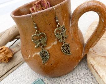 Handmade Love Bird And Leaf Charm Earrings, Dangle Earrings