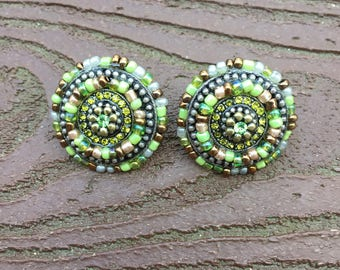 Vintage Jewelry Coldwater Creek Pierced Earrings Gorgeous Green New