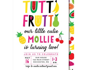 Tutti Frutti Invitation, Tutti Fruitti Birthday Party, Pineapple, Banana, Tropical Summer Pool Party, Printable or Printed