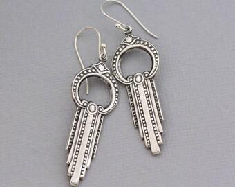 Long Earrings, Art Deco Style Earrings, Vintage Style Earrings, Unique Jewelry, Long Dangling Earrings,Art Nouveau,Art Deco Jewelry.