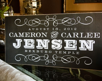Personalized Established Family or Wedding Name Sign  --  12x24 in VINTAGE Chalkboard inspired  Style