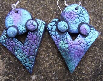 Geometric Earrings. Polymer Clay Earrings. Statement Earrings. Lightweight Earrings. Blue And Mauve Earrings. Dramatic Earrings .Boho Style