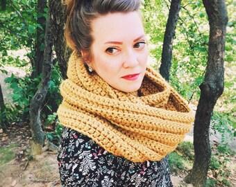Bulky Scarf - Crochet Scarf - Womens Scarf - Mens Scarf - Chunky Scarf - Infinity Scarf - Oversized Scarf - Mustard Yellow    WIEBKE SCARF