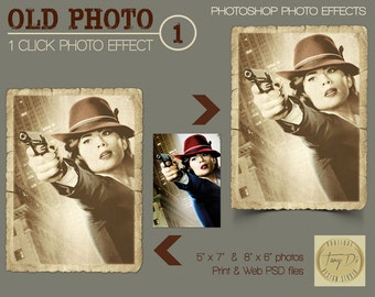 Old Photo #1 Photo Effects, Pro Photoshop Template, One click photo effect, Paper photo frame, 5x7 8x6 printable photo effects, Vintage