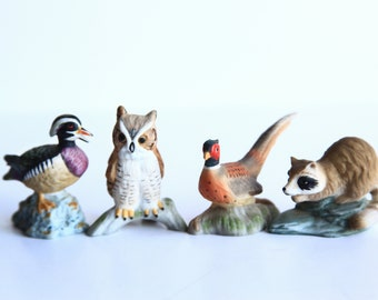 Vintage Porcelain RC Wildlife Animal Figurines ~ Royal Cornwall Wood Duck, Owl, Pheasant, Raccoon ~ Woodland Animals