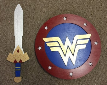 Wonder Woman Sword and Shield Kids Costume Size Set w/ optional backpack straps