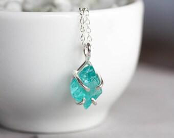 Rough Apatite necklace - simple pendant necklace - sterling silver - sky blue apatite