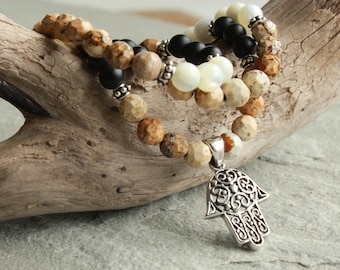 Picture Jasper Black Onyx White Shell Necklace for Men, Sterling Hamsa Hand Charm, Men's Beaded Necklace, Jewelry for Guys, Dad, Him, 4618