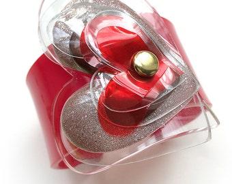 Red Cuff Bracelet, Acrylic Heart Bangle, Perspex Valentine Bracelet by Enna