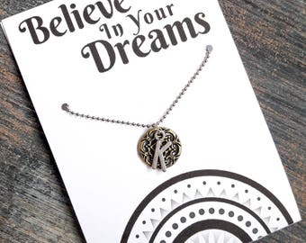 SUPER SALE!!!  Believe In Your Dreams - Custom Made Initial Necklace With Dream Catcher Charm (Antique Gold)