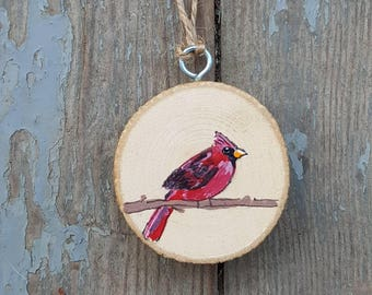 Cardinal, Bird Ornament, Wood Slice Ornament, Cardinal Painting, Cardinal Bird, Red Bird, Christmas Ornament