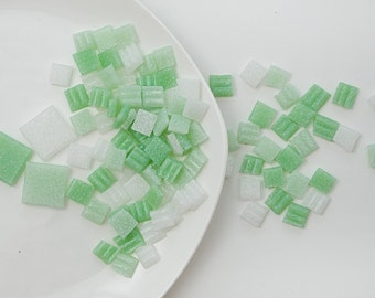 100 Mix of GREEN tiles Handcut mosaic tiles Squared glass tiles Italian glass Mosaic supplies Glass tiles for mosaic Mosaic pieces