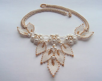 Wedding Necklace  Embroidered Necklace  White Necklace Beaded Necklace Bridal Jewelry  OOAK Jewelry
