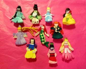 Disney Princess ribbon sculpture collection hair clips set of 10