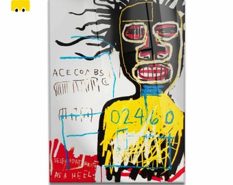 Plexiglass square Prints on acrylic glass-Jean Michel BASQUIAT-Self Portrait as a Hell-yellow BUS
