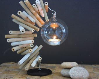 """Candle Nature & Co """"Ball of light"""" white, taupe and natural"""