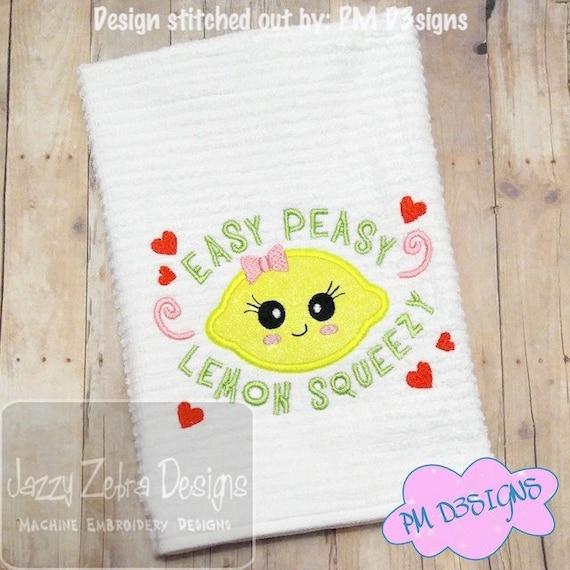Easy Peasy, Lemon Squeezy saying appliqué embroidery design - Lemon appliqué design - summer applique design - summer vacation applique