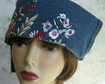 Womens Blue Jean Hat Stonewashed Denim With Large Embroidered Beaded Brim Flapper Girl Meets Blue Jean Chic Chemo Hair Loss Sz 21-23