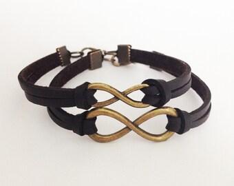 Infinity bracelet  Bronze infinity bracelet  Friendship bracelet Brown leather bracelet Birthday gift