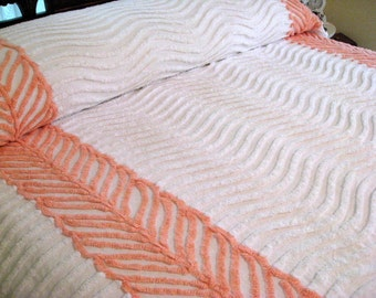 Vintage Chenille Bedspread - Snowy White with Peach Bows and Trim - Full or Queen Coverlet - Blanket