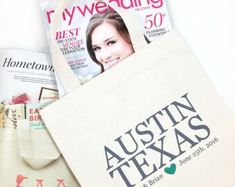 Set of 6 Wedding Welcome Tote Bags with Personalized City, State, Name, Date, Customizable Tote Bags