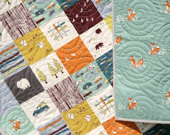Quilt, Woodland Nursery, Baby Boy, Woodland Baby Quilt, Woodland Crib Quilt, Rustic Nursery Boy, Rustic Baby Quilts, Best Toddler Blanket