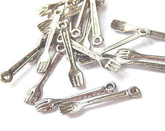 10 charms silver forks 25 x 4, 5mm